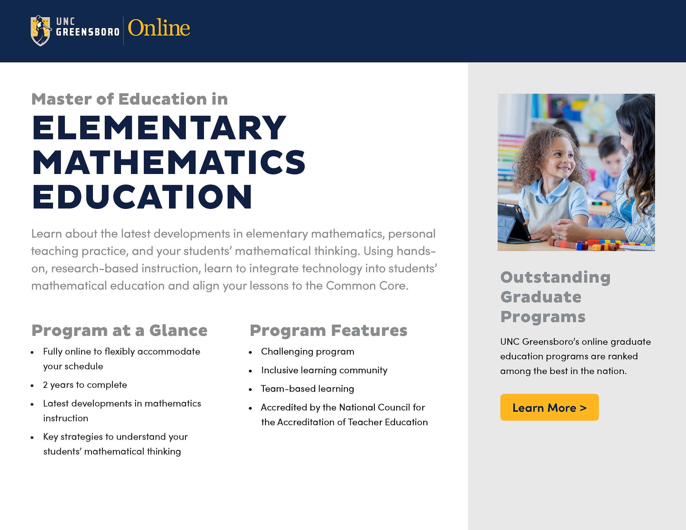 Med In Curriculum And Instruction Elementary Mathematics Education