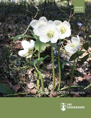 Cover of Emeritus Spring 2021 Brochure, Photo of Flowers