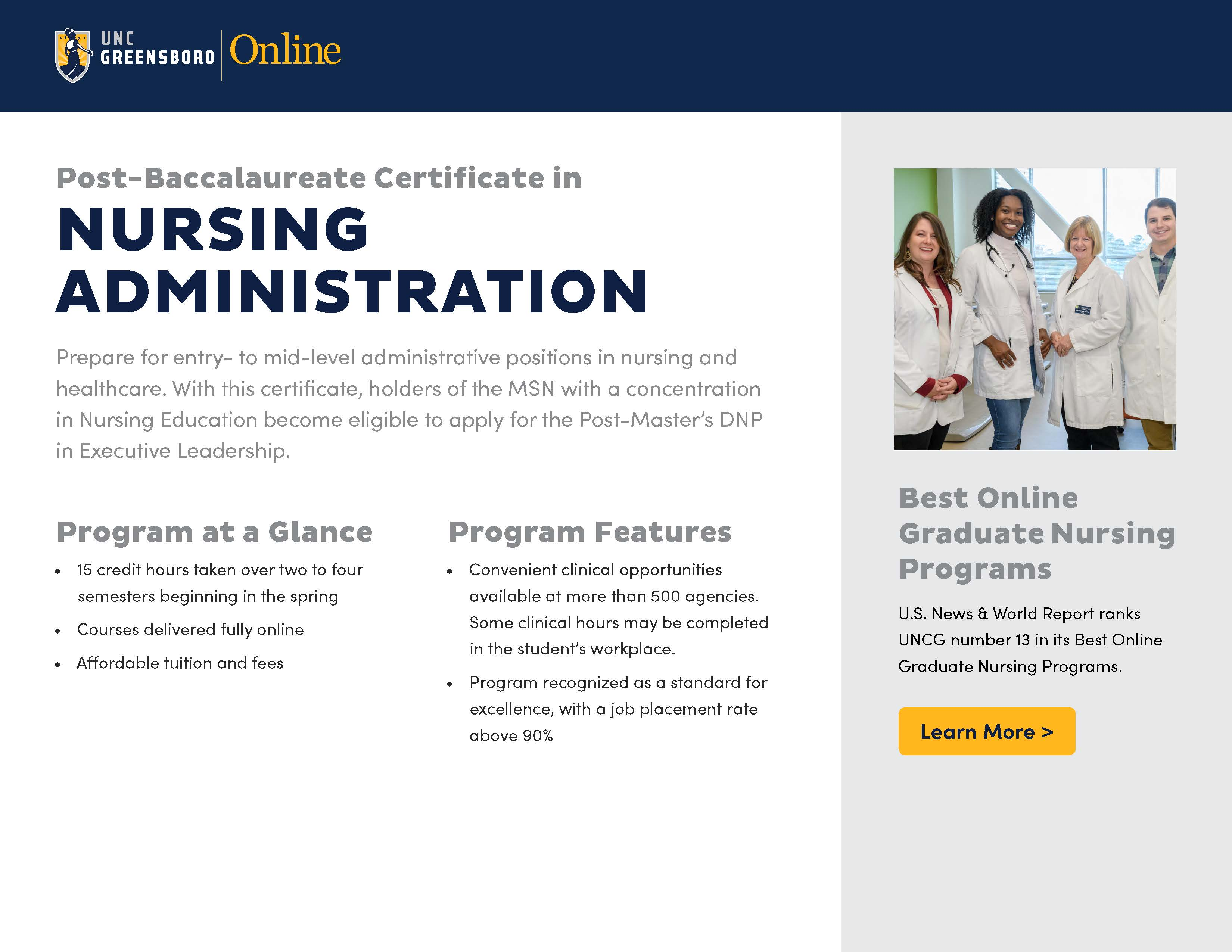 Post-Baccalaureate Certificate in Nursing Administration brochure thumbnail