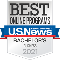 US News & World Report Best Online Bachelor's in Business 2021 Badge