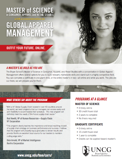 MS in Consumer Apparel and Retail Studies Brochure Thumbnail