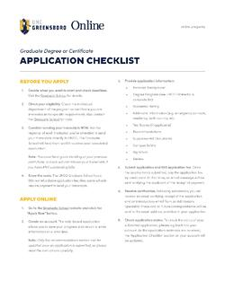 UNCG Online How to Apply Checklist