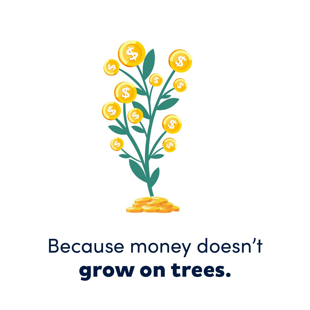 Illustration of tree sprouting coins